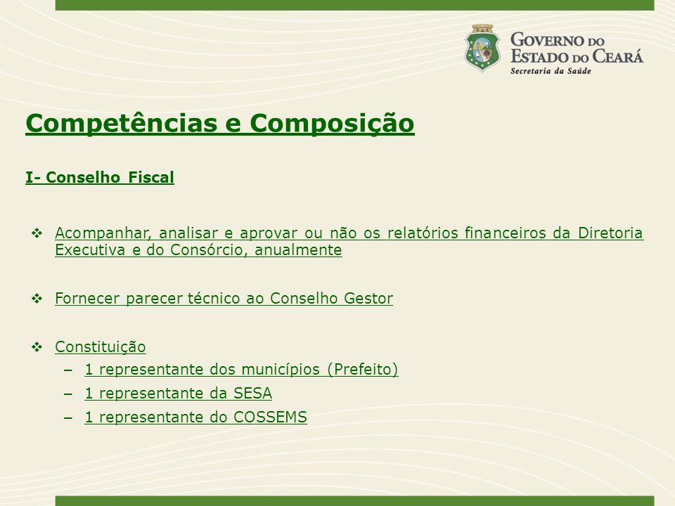 Competências e Composição Acompanhar, analisar e aprovar ou não os relatórios financeiros da Diretoria Executiva e do Consórcio, anualmente Fornecer p