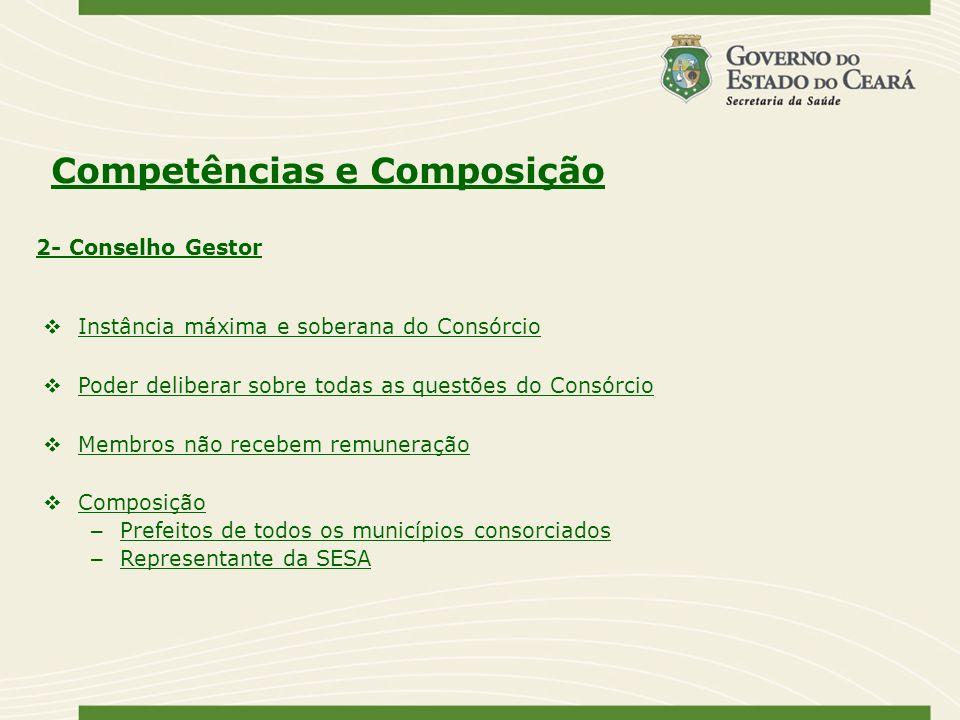 Competências e Composição Instância máxima e soberana do Consórcio Poder deliberar sobre todas as questões do Consórcio Membros não recebem remuneraçã