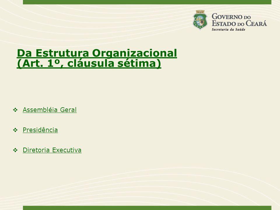 Da Estrutura Organizacional (Art. 1º, cláusula sétima) Assembléia Geral Presidência Diretoria Executiva