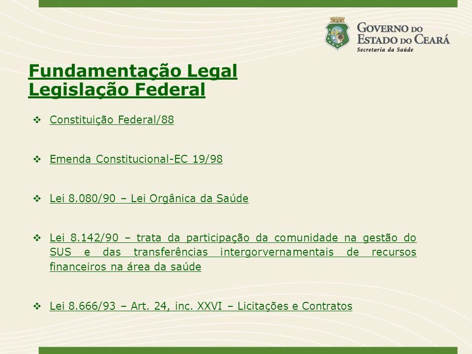 Fundamentação Legal Legislação Federal Constituição Federal/88 Emenda Constitucional-EC 19/98 Lei 8.080/90 – Lei Orgânica da Saúde Lei 8.142/90 – trat