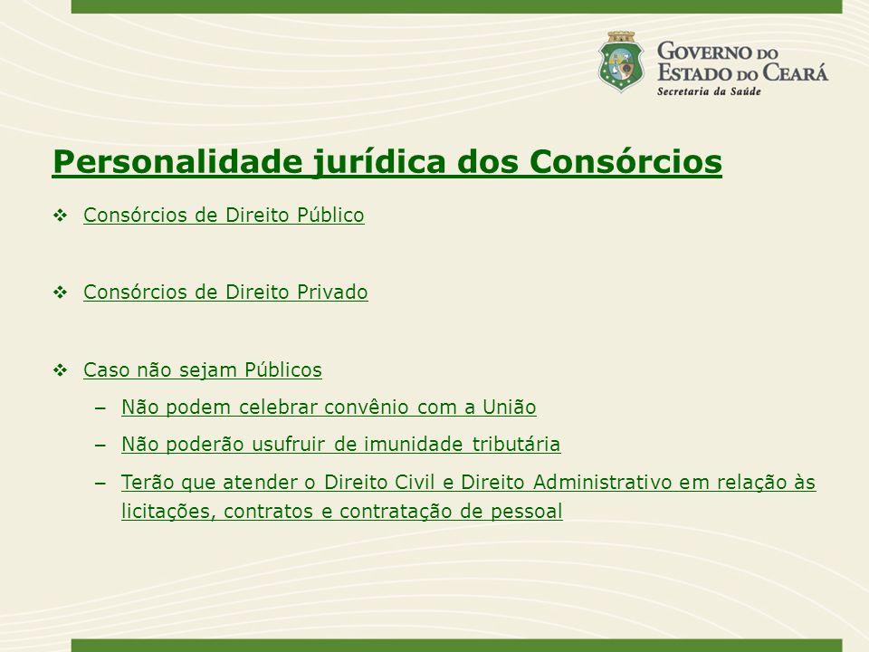 Personalidade jurídica dos Consórcios Consórcios de Direito Público Consórcios de Direito Privado Caso não sejam Públicos – Não podem celebrar convêni