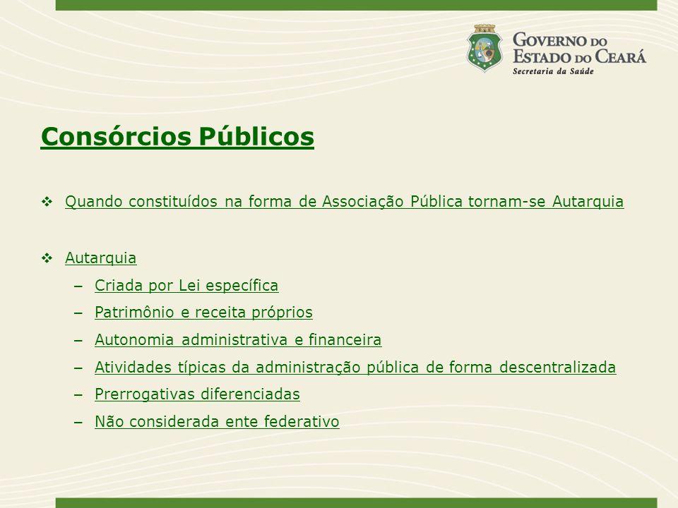 Consórcios Públicos Quando constituídos na forma de Associação Pública tornam-se Autarquia Autarquia – Criada por Lei específica – Patrimônio e receit