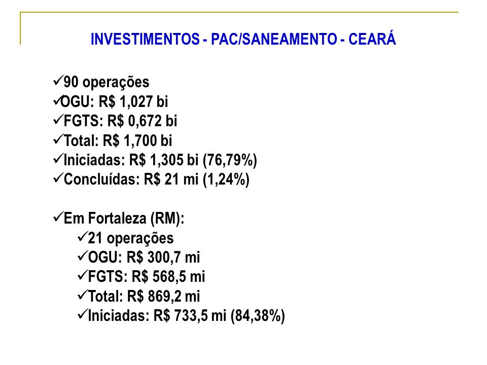90 operações OGU: R$ 1,027 bi FGTS: R$ 0,672 bi Total: R$ 1,700 bi Iniciadas: R$ 1,305 bi (76,79%) Concluídas: R$ 21 mi (1,24%) Em Fortaleza (RM): 21