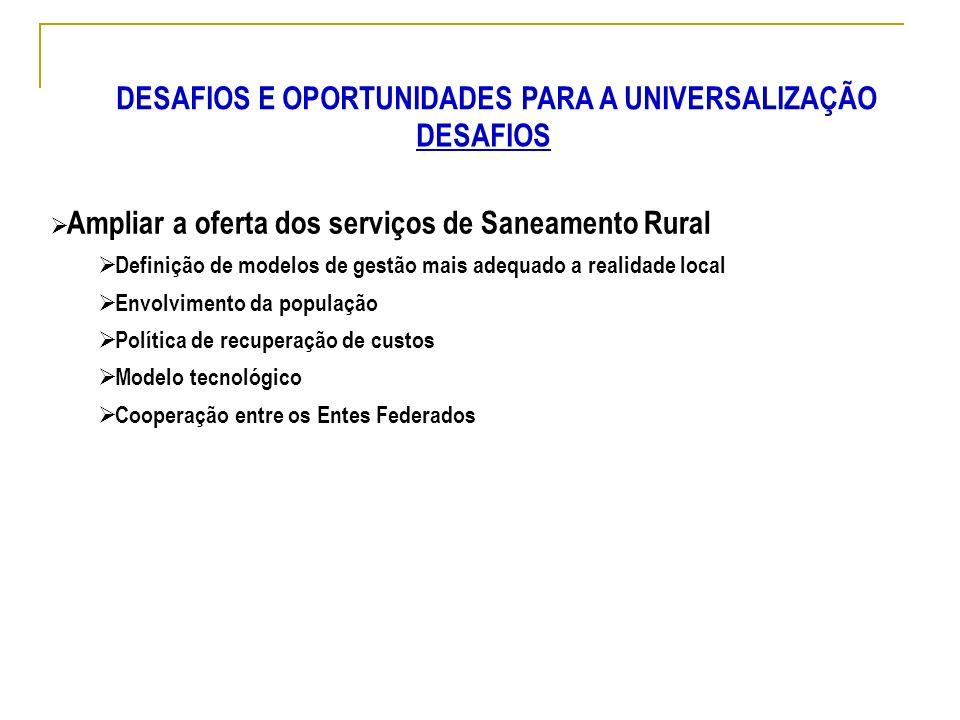 Ampliar a oferta dos serviços de Saneamento Rural Definição de modelos de gestão mais adequado a realidade local Envolvimento da população Política de