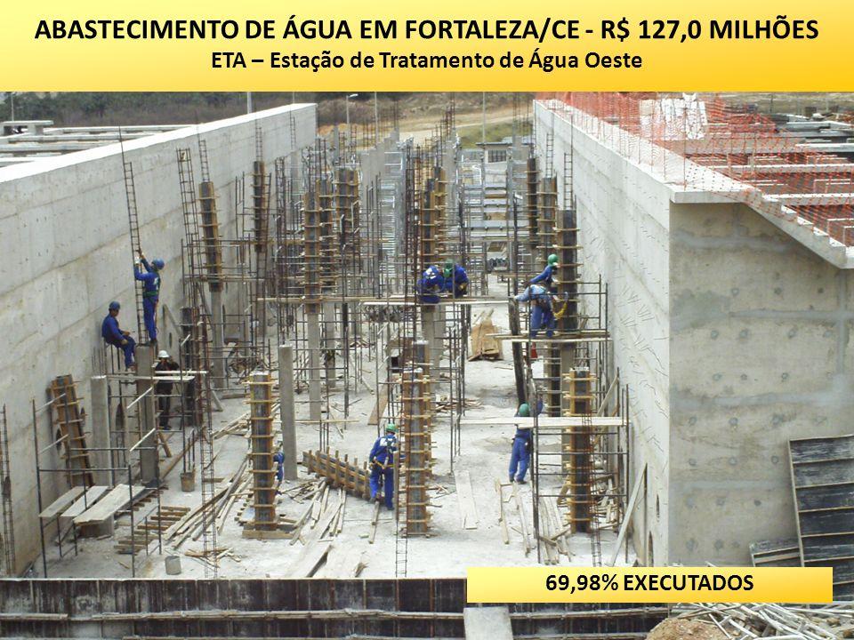 ABASTECIMENTO DE ÁGUA EM FORTALEZA/CE - R$ 127,0 MILHÕES ETA – Estação de Tratamento de Água Oeste 69,98% EXECUTADOS