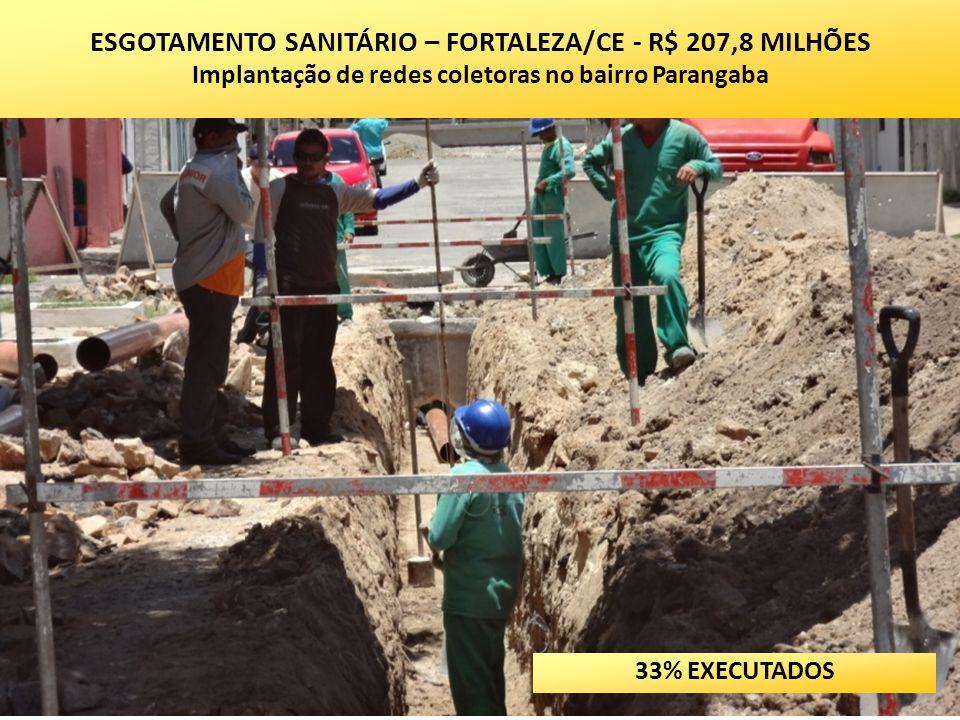 ESGOTAMENTO SANITÁRIO – FORTALEZA/CE - R$ 207,8 MILHÕES Implantação de redes coletoras no bairro Parangaba 33% EXECUTADOS