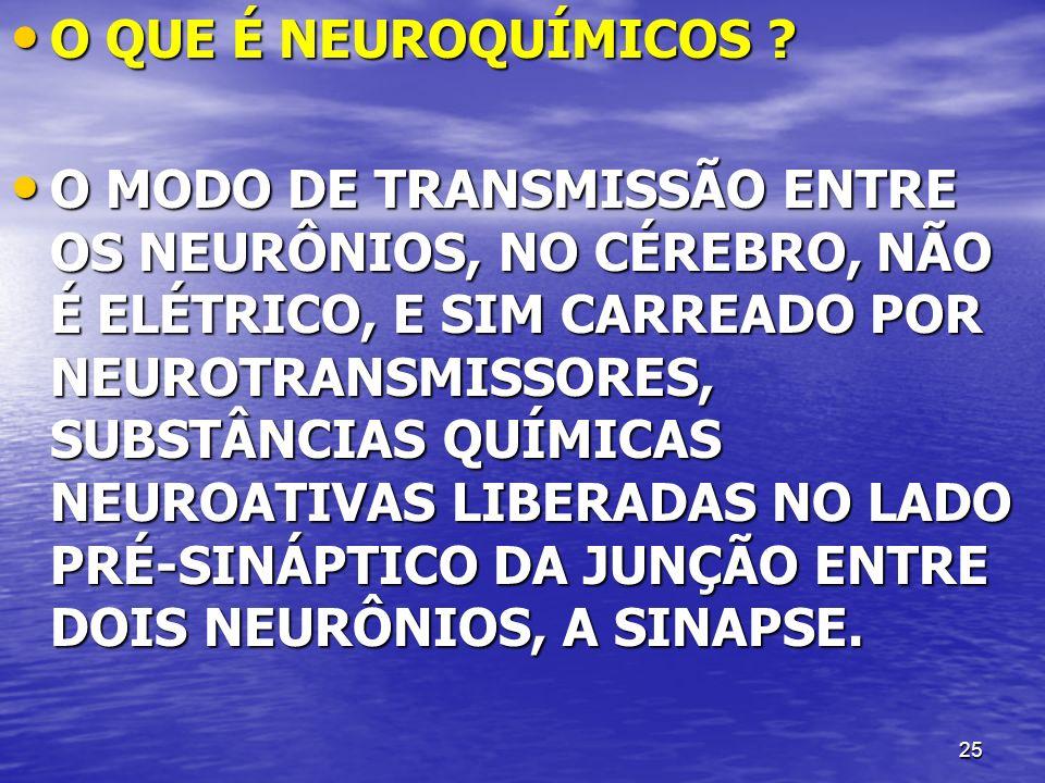 25 O QUE É NEUROQUÍMICOS ? O QUE É NEUROQUÍMICOS ? O MODO DE TRANSMISSÃO ENTRE OS NEURÔNIOS, NO CÉREBRO, NÃO É ELÉTRICO, E SIM CARREADO POR NEUROTRANS