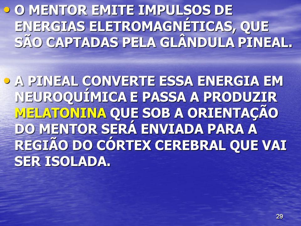 29 O MENTOR EMITE IMPULSOS DE ENERGIAS ELETROMAGNÉTICAS, QUE SÃO CAPTADAS PELA GLÂNDULA PINEAL. O MENTOR EMITE IMPULSOS DE ENERGIAS ELETROMAGNÉTICAS,