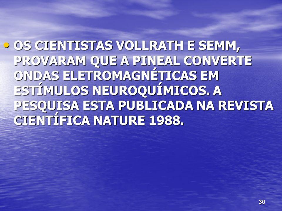 30 OS CIENTISTAS VOLLRATH E SEMM, PROVARAM QUE A PINEAL CONVERTE ONDAS ELETROMAGNÉTICAS EM ESTÍMULOS NEUROQUÍMICOS. A PESQUISA ESTA PUBLICADA NA REVIS