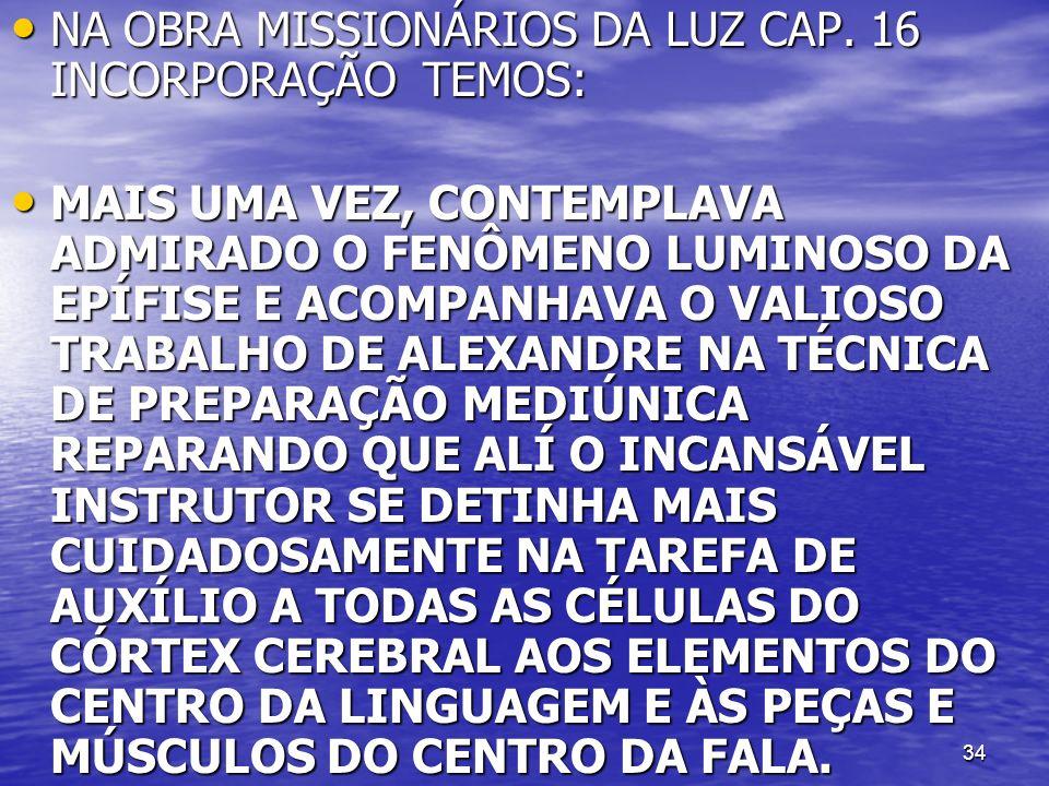 34 NA OBRA MISSIONÁRIOS DA LUZ CAP. 16 INCORPORAÇÃO TEMOS: NA OBRA MISSIONÁRIOS DA LUZ CAP. 16 INCORPORAÇÃO TEMOS: MAIS UMA VEZ, CONTEMPLAVA ADMIRADO