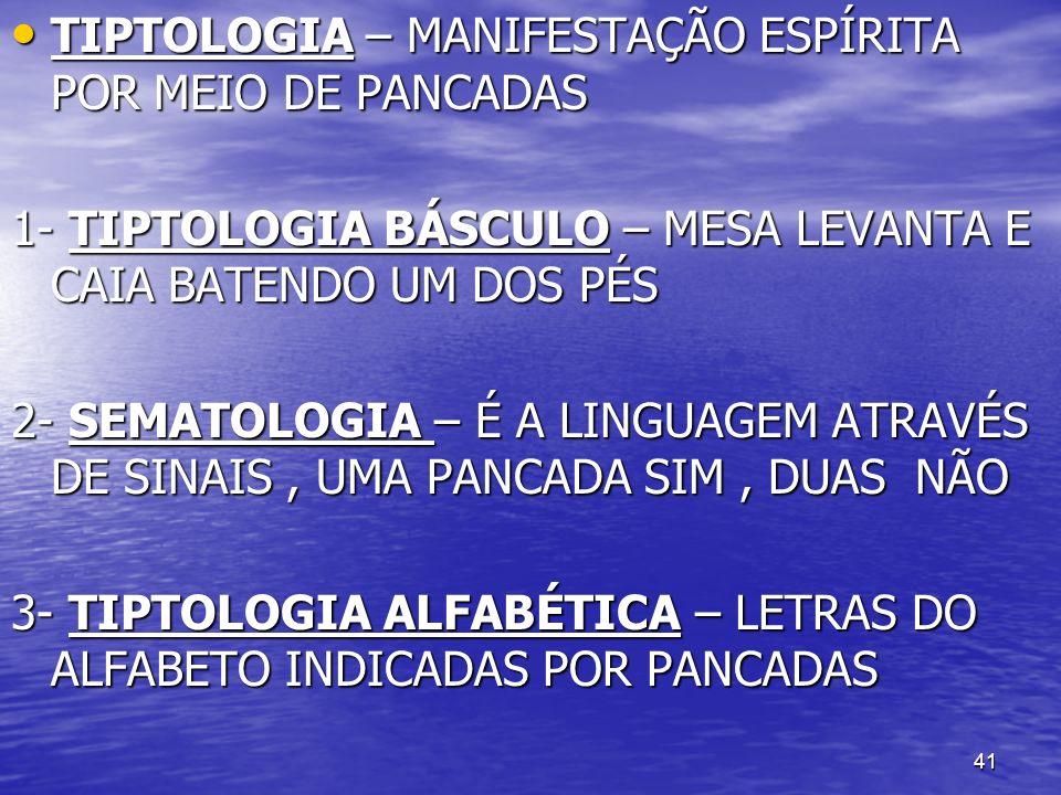41 TIPTOLOGIA – MANIFESTAÇÃO ESPÍRITA POR MEIO DE PANCADAS TIPTOLOGIA – MANIFESTAÇÃO ESPÍRITA POR MEIO DE PANCADAS 1- TIPTOLOGIA BÁSCULO – MESA LEVANT