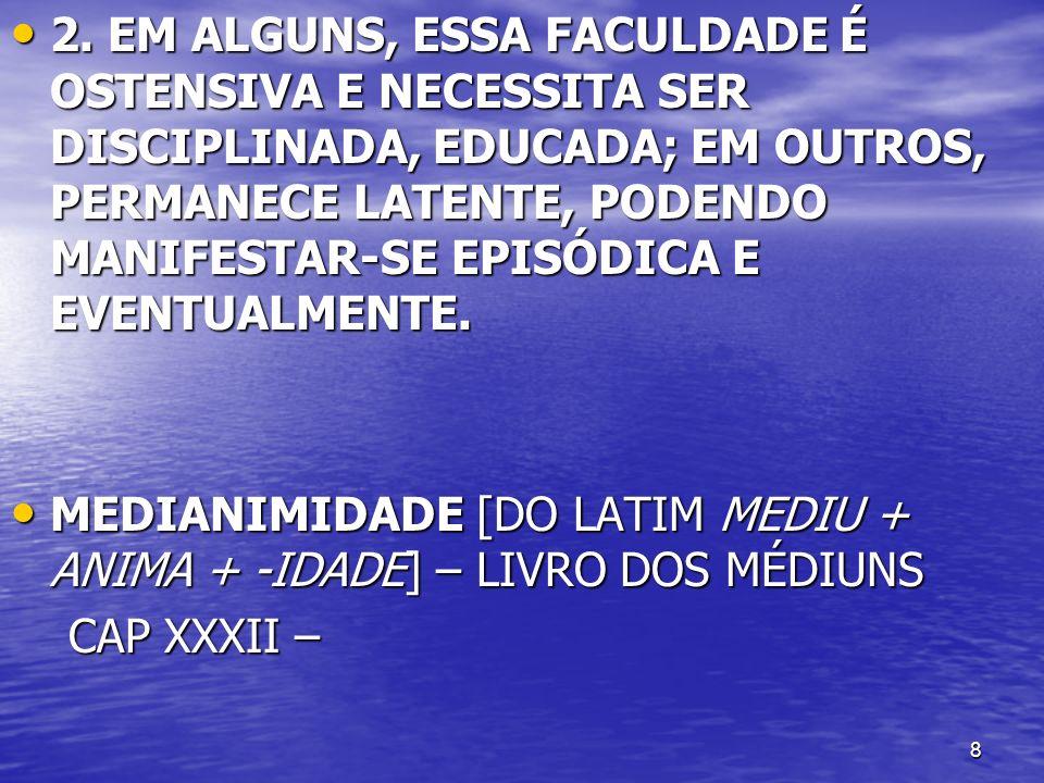 39 ALLAN KARDEC DIVIDIU OS FENÔMENOS MEDIÚNICOS EM 2 GRANDES GRUPOS ALLAN KARDEC DIVIDIU OS FENÔMENOS MEDIÚNICOS EM 2 GRANDES GRUPOS EFEITOS FÍSICOS EFEITOS FÍSICOS EFEITOS INTELECTUAIS EFEITOS INTELECTUAIS A DIVISÃO EM EFEITOS FÍSICOS E INTELECTUAIS NÃO É ABSOLUTA, VISTO QUE, AO ANALISARMOS OS DIFERENTES FENÔMENOS PRODUZIDOS SOB A INFLUÊNCIA MEDIÚNICA, VEREMOS QUE, EM TODOS, HÁ UM EFEITO FÍSICO E UM EFEITO ABSOLUTO.