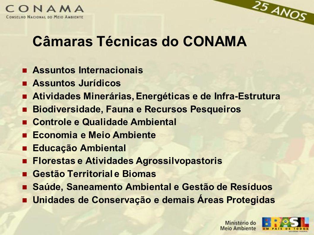 Câmaras Técnicas do CONAMA Assuntos Internacionais Assuntos Jurídicos Atividades Minerárias, Energéticas e de Infra-Estrutura Biodiversidade, Fauna e Recursos Pesqueiros Controle e Qualidade Ambiental Economia e Meio Ambiente Educação Ambiental Florestas e Atividades Agrossilvopastoris Gestão Territorial e Biomas Saúde, Saneamento Ambiental e Gestão de Resíduos Unidades de Conservação e demais Áreas Protegidas