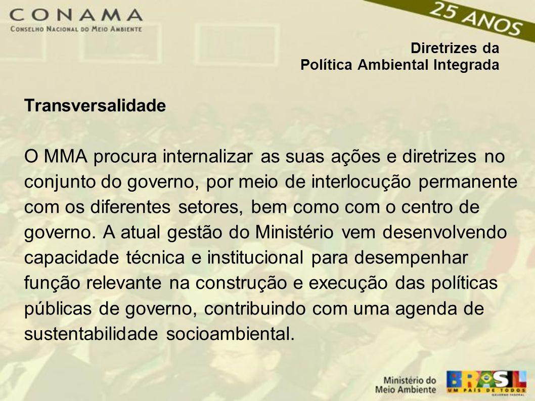 Diretrizes da Política Ambiental Integrada Transversalidade O MMA procura internalizar as suas ações e diretrizes no conjunto do governo, por meio de interlocução permanente com os diferentes setores, bem como com o centro de governo.