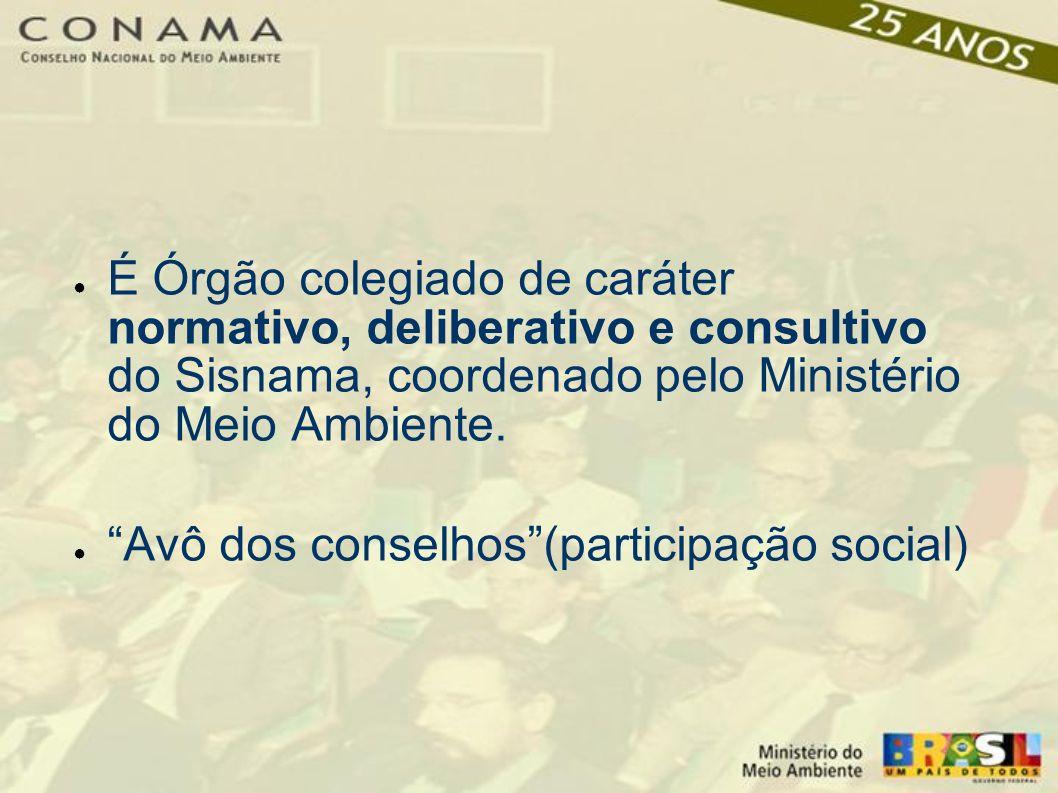 É Órgão colegiado de caráter normativo, deliberativo e consultivo do Sisnama, coordenado pelo Ministério do Meio Ambiente.
