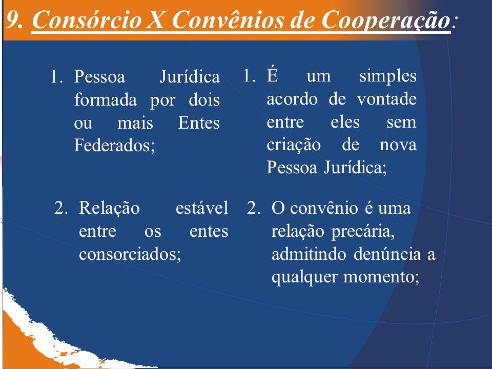 9. Consórcio X Convênios de Cooperação: 1.Pessoa Jurídica formada por dois ou mais Entes Federados; 1.É um simples acordo de vontade entre eles sem cr
