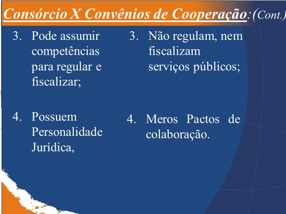 3.Pode assumir competências para regular e fiscalizar; 4.Meros Pactos de colaboração.