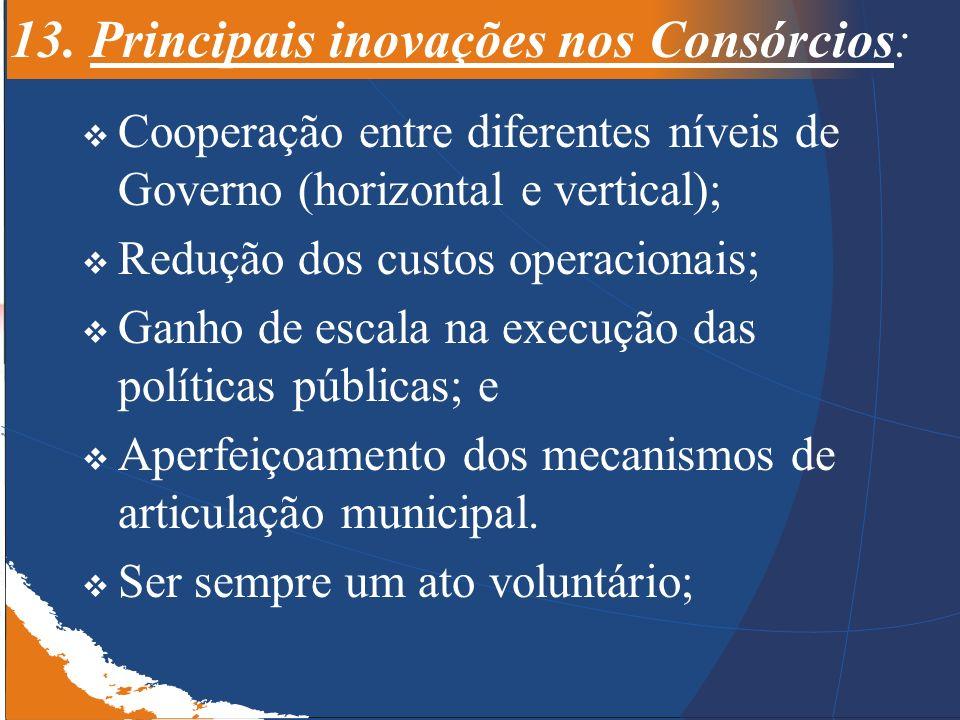 13. Principais inovações nos Consórcios: Cooperação entre diferentes níveis de Governo (horizontal e vertical); Redução dos custos operacionais; Ganho