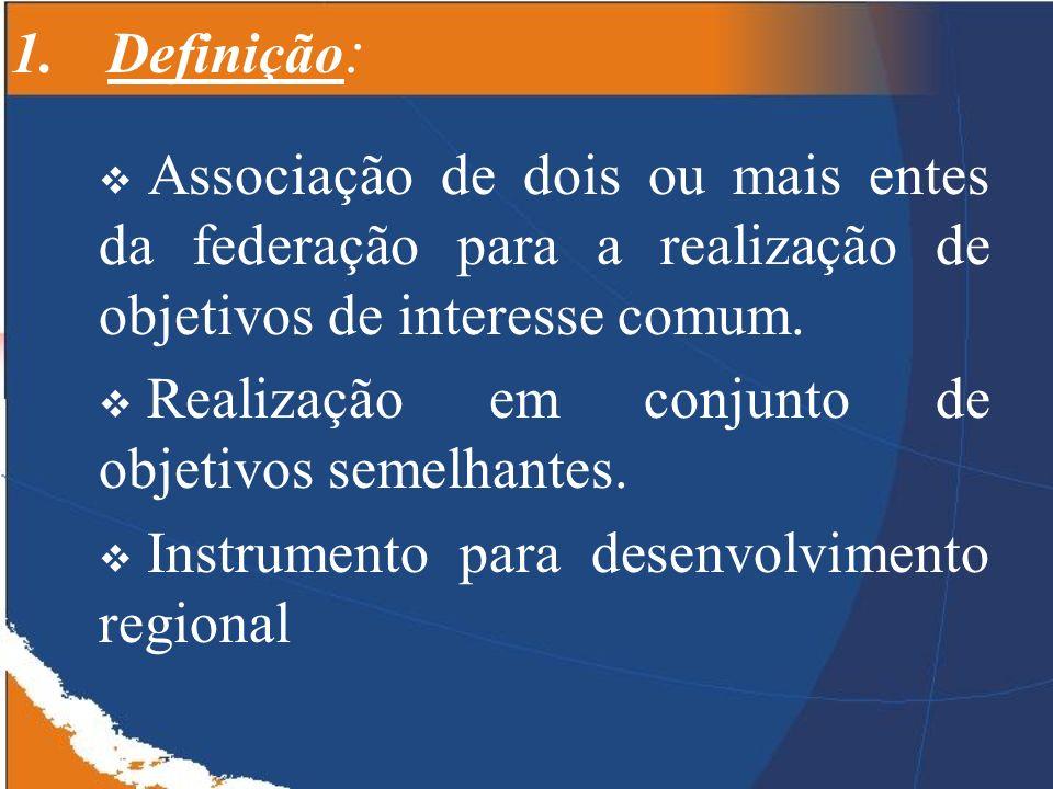 1.Definição : Associação de dois ou mais entes da federação para a realização de objetivos de interesse comum.