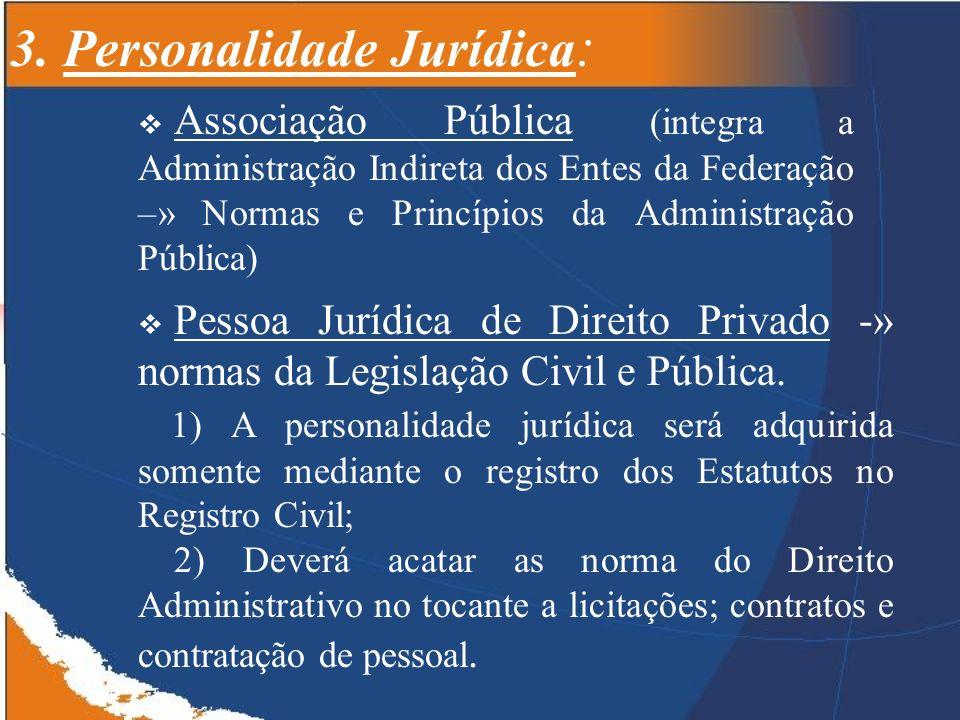 3. Personalidade Jurídica : Associação Pública (integra a Administração Indireta dos Entes da Federação –» Normas e Princípios da Administração Públic