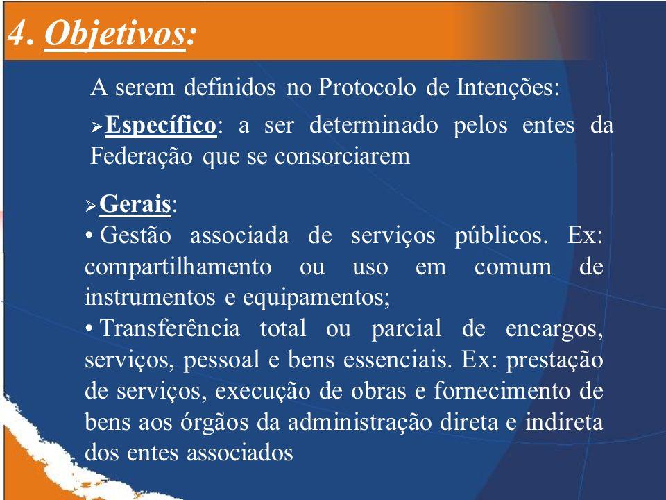 4. Objetivos: A serem definidos no Protocolo de Intenções: Específico: a ser determinado pelos entes da Federação que se consorciarem Gerais: Gestão a