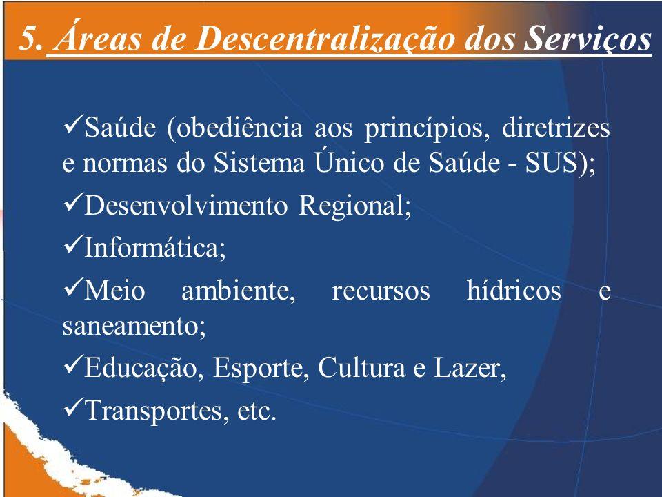 5. Áreas de Descentralização dos Serviços Saúde (obediência aos princípios, diretrizes e normas do Sistema Único de Saúde - SUS); Desenvolvimento Regi