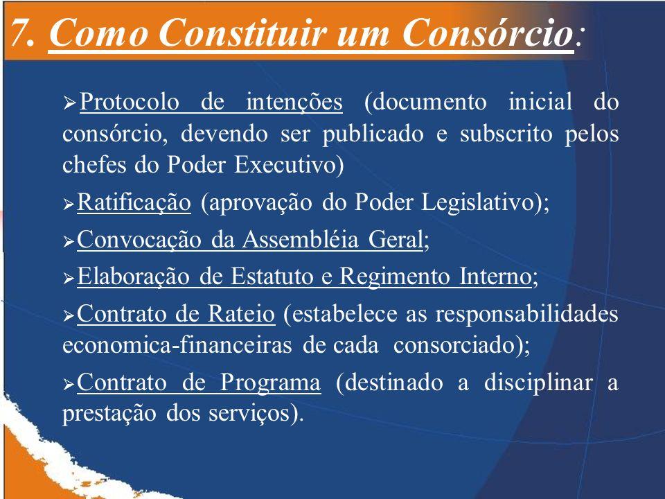 7. Como Constituir um Consórcio: Protocolo de intenções (documento inicial do consórcio, devendo ser publicado e subscrito pelos chefes do Poder Execu