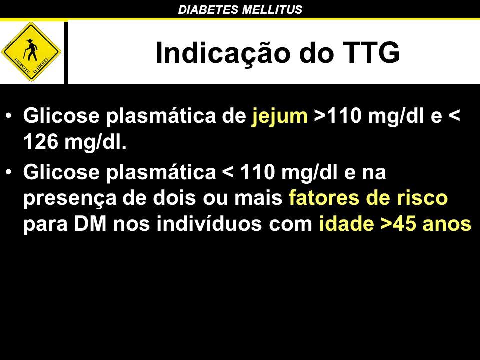 DIABETES MELLITUS Indicação do TTG Glicose plasmática de jejum >110 mg/dl e < 126 mg/dl. Glicose plasmática 45 anos