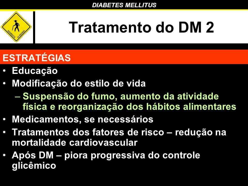 DIABETES MELLITUS Tratamento do DM 2 ESTRATÉGIAS Educação Modificação do estilo de vida –Suspensão do fumo, aumento da atividade física e reorganizaçã