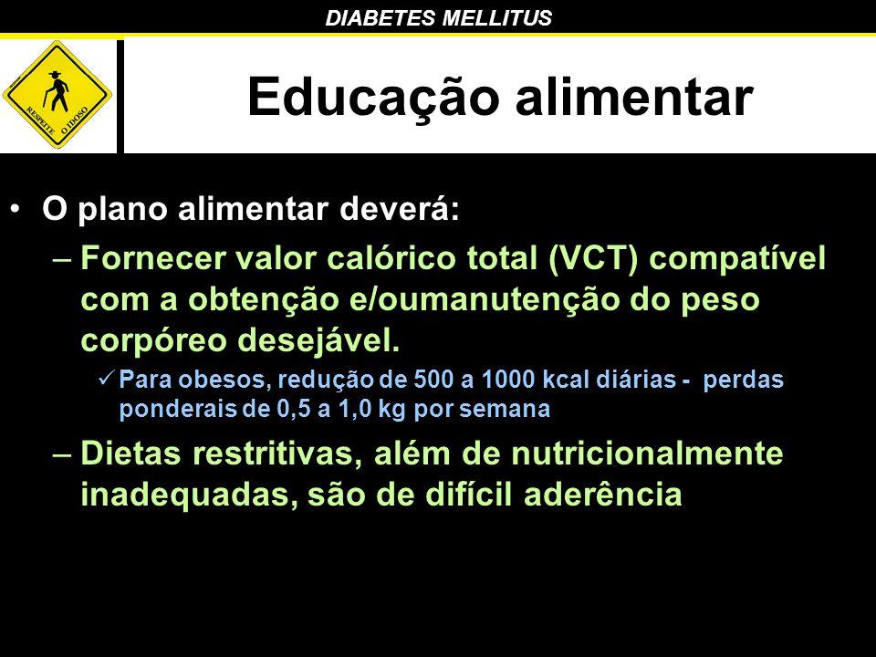 DIABETES MELLITUS Educação alimentar O plano alimentar deverá: –Fornecer valor calórico total (VCT) compatível com a obtenção e/oumanutenção do peso c