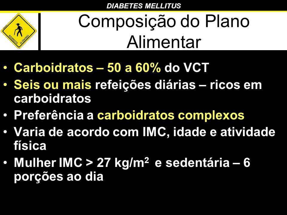 DIABETES MELLITUS Composição do Plano Alimentar Carboidratos – 50 a 60% do VCT Seis ou mais refeições diárias – ricos em carboidratos Preferência a ca