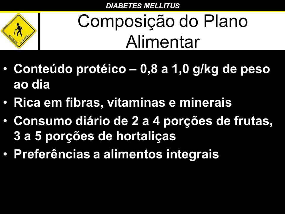 DIABETES MELLITUS Composição do Plano Alimentar Conteúdo protéico – 0,8 a 1,0 g/kg de peso ao dia Rica em fibras, vitaminas e minerais Consumo diário