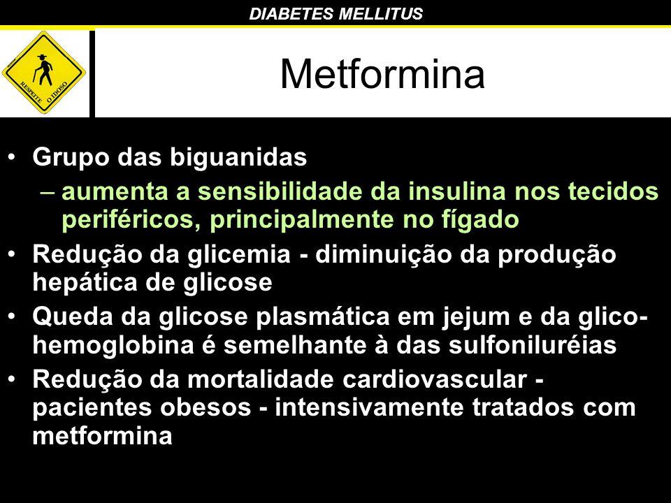DIABETES MELLITUS Metformina Grupo das biguanidas –aumenta a sensibilidade da insulina nos tecidos periféricos, principalmente no fígado Redução da gl