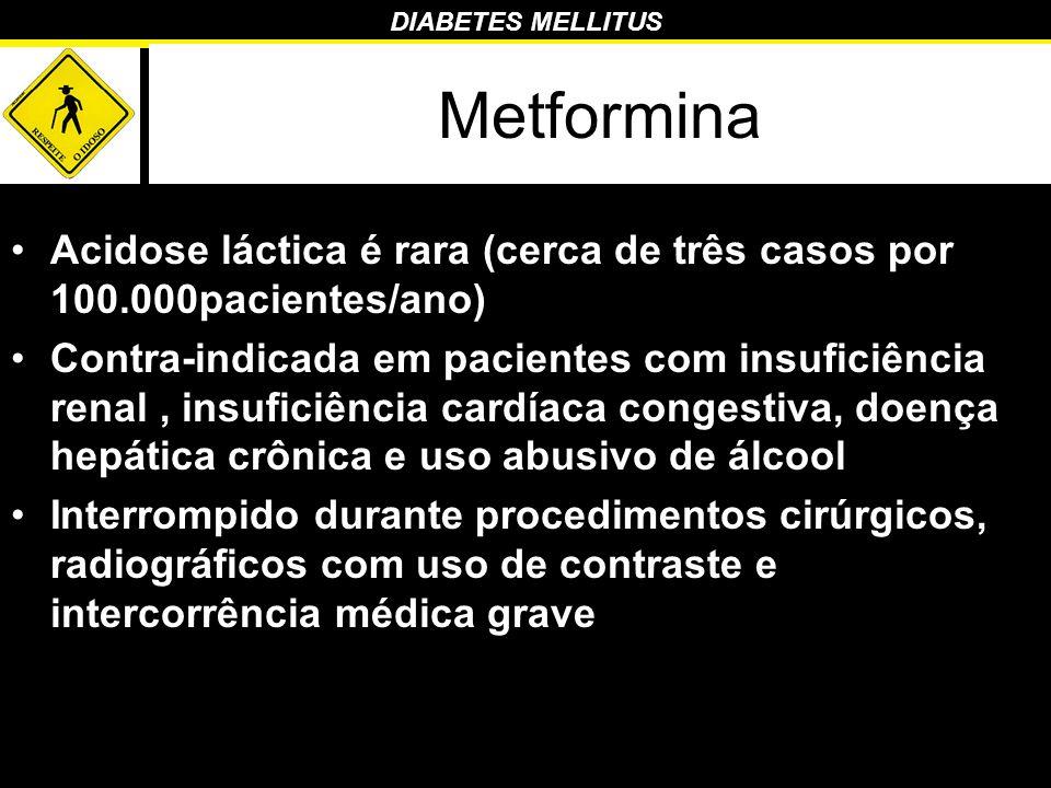 DIABETES MELLITUS Metformina Acidose láctica é rara (cerca de três casos por 100.000pacientes/ano) Contra-indicada em pacientes com insuficiência rena