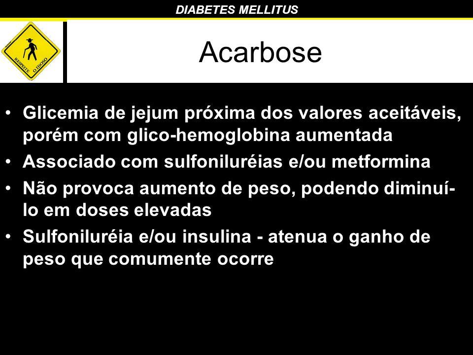 DIABETES MELLITUS Acarbose Glicemia de jejum próxima dos valores aceitáveis, porém com glico-hemoglobina aumentada Associado com sulfoniluréias e/ou m