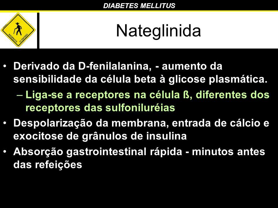 DIABETES MELLITUS Nateglinida Derivado da D-fenilalanina, - aumento da sensibilidade da célula beta à glicose plasmática. –Liga-se a receptores na cél