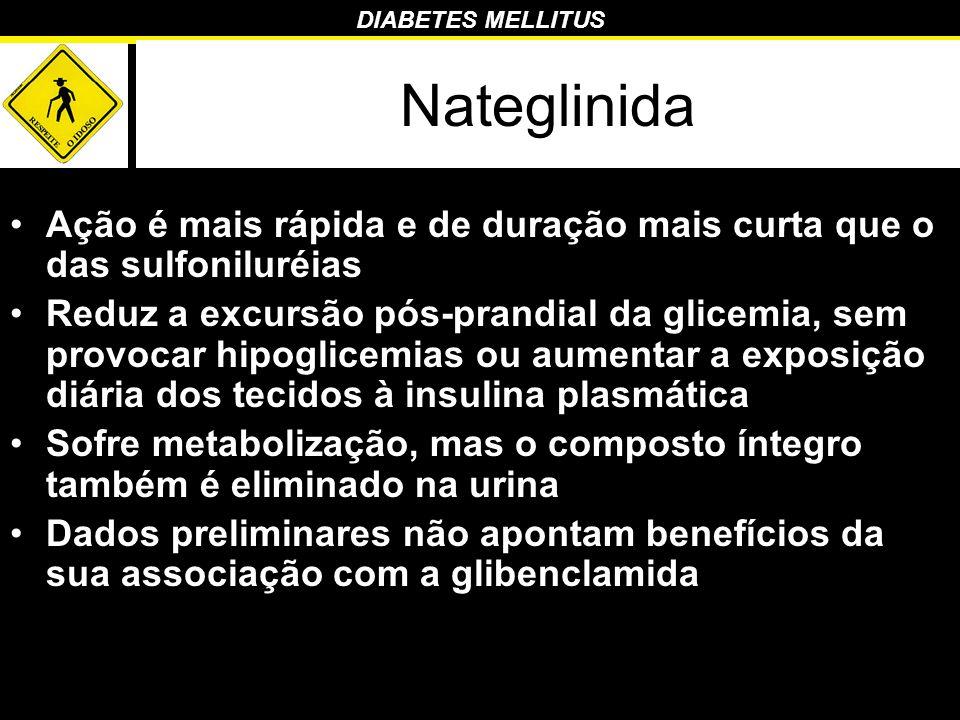 DIABETES MELLITUS Nateglinida Ação é mais rápida e de duração mais curta que o das sulfoniluréias Reduz a excursão pós-prandial da glicemia, sem provo