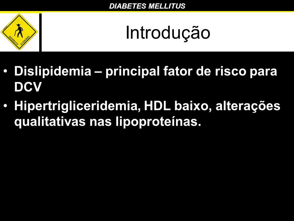 DIABETES MELLITUS Introdução Dislipidemia – principal fator de risco para DCV Hipertrigliceridemia, HDL baixo, alterações qualitativas nas lipoproteín