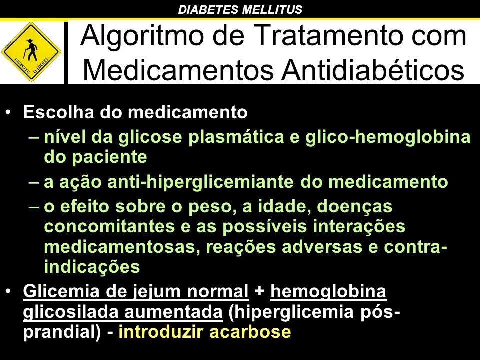 DIABETES MELLITUS Algoritmo de Tratamento com Medicamentos Antidiabéticos Escolha do medicamento –nível da glicose plasmática e glico-hemoglobina do p