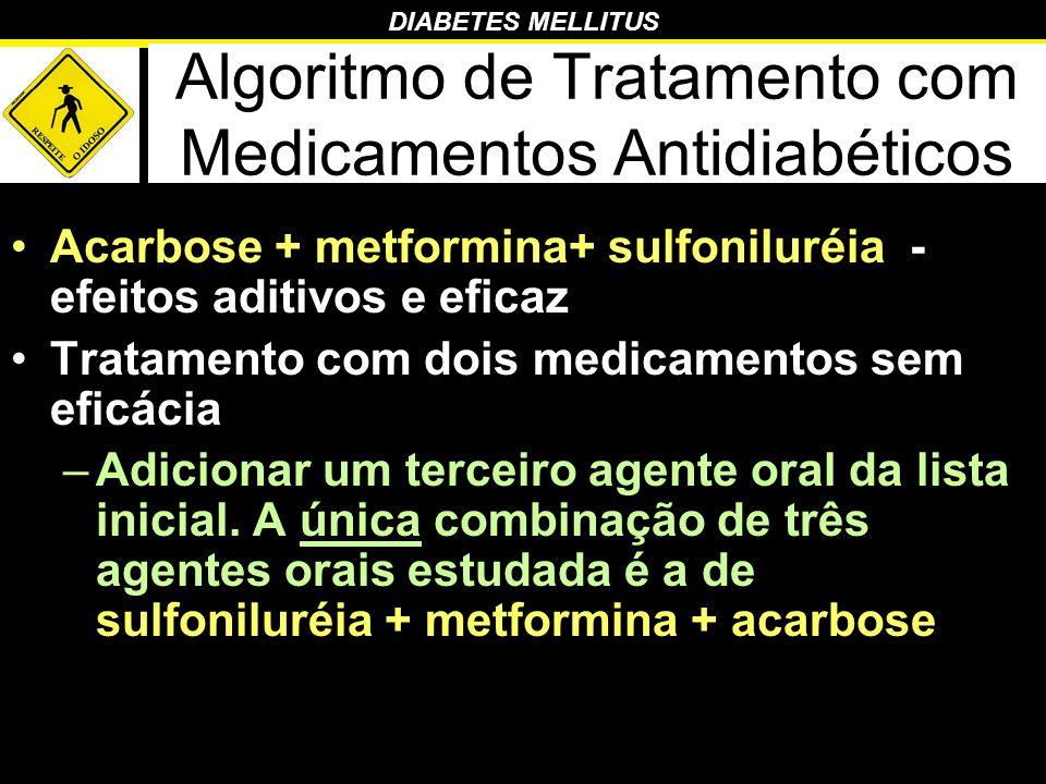 DIABETES MELLITUS Algoritmo de Tratamento com Medicamentos Antidiabéticos Acarbose + metformina+ sulfoniluréia - efeitos aditivos e eficaz Tratamento