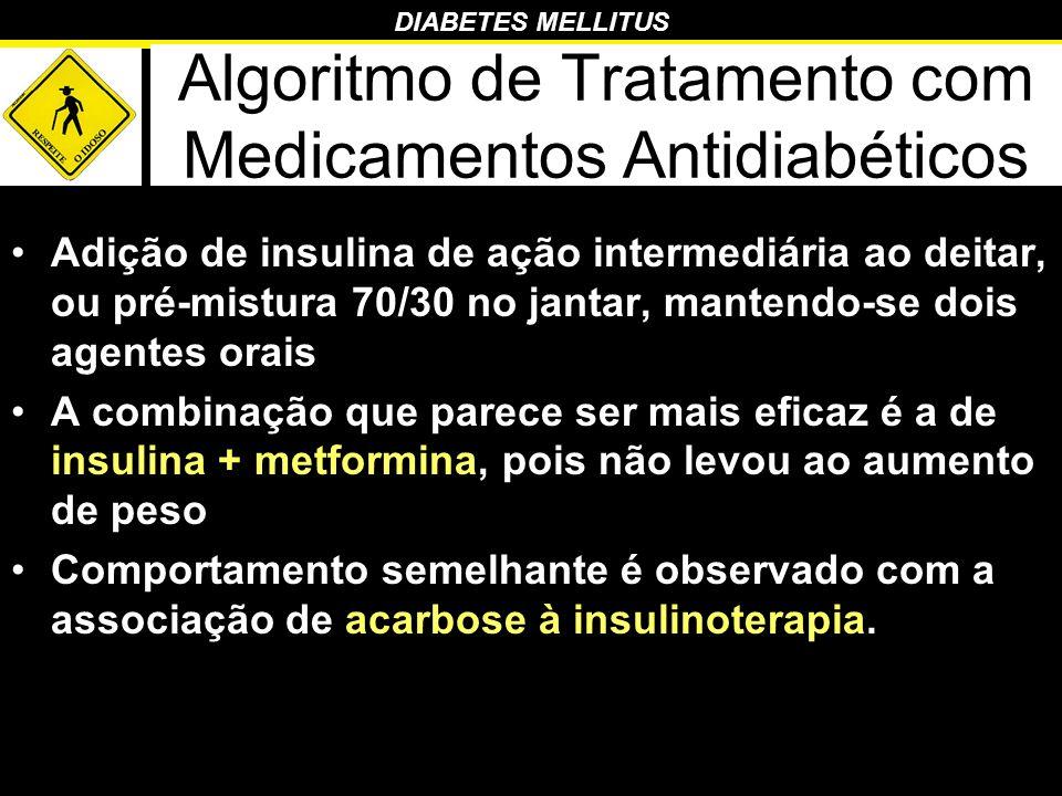 DIABETES MELLITUS Algoritmo de Tratamento com Medicamentos Antidiabéticos Adição de insulina de ação intermediária ao deitar, ou pré-mistura 70/30 no