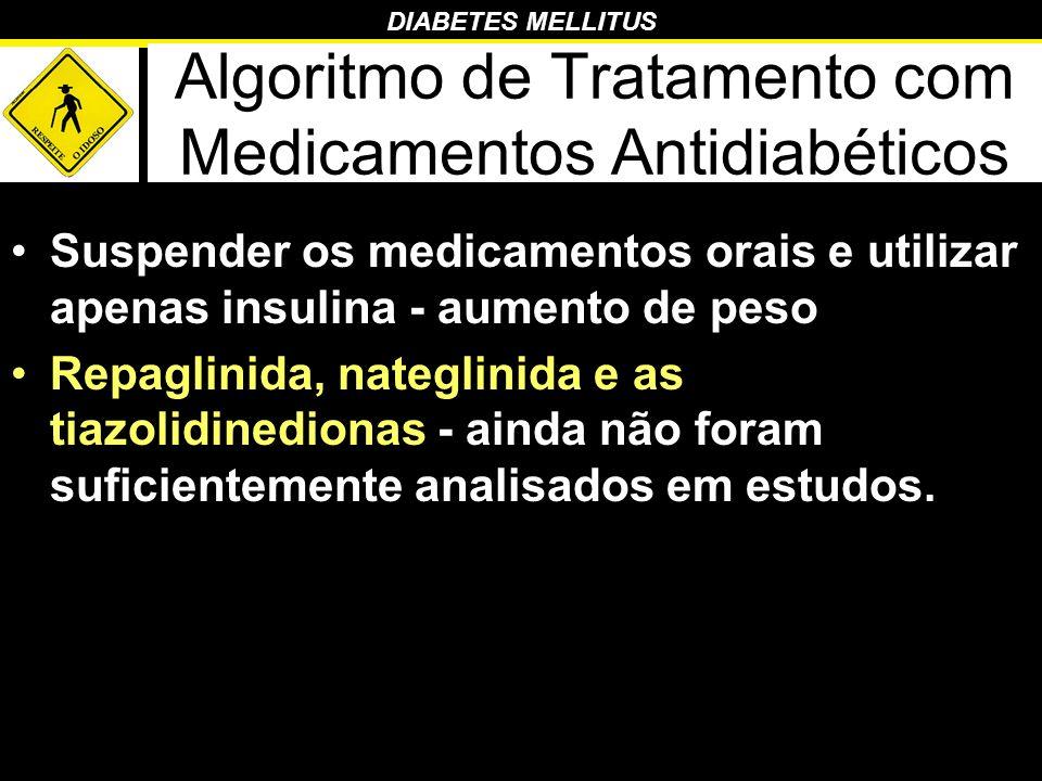 DIABETES MELLITUS Algoritmo de Tratamento com Medicamentos Antidiabéticos Suspender os medicamentos orais e utilizar apenas insulina - aumento de peso