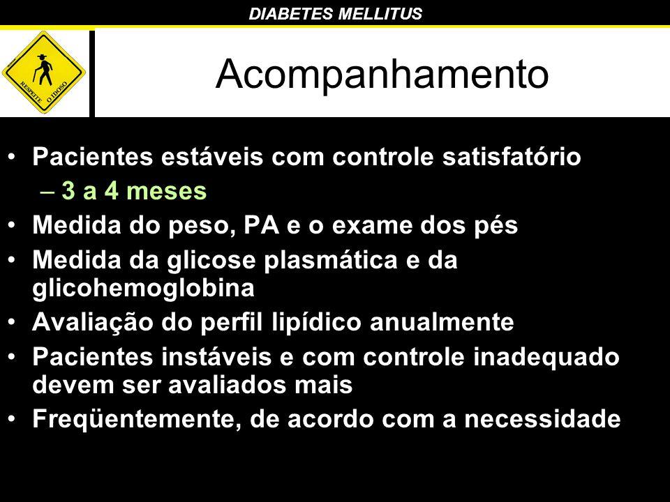 Acompanhamento Pacientes estáveis com controle satisfatório –3 a 4 meses Medida do peso, PA e o exame dos pés Medida da glicose plasmática e da glicoh
