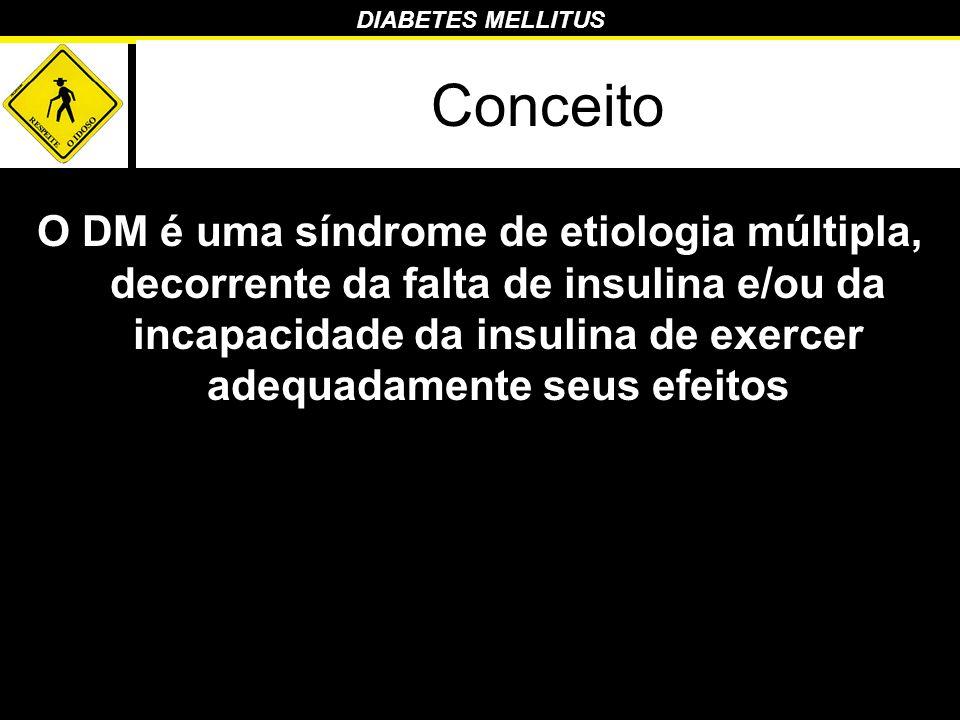 DIABETES MELLITUS Conceito O DM é uma síndrome de etiologia múltipla, decorrente da falta de insulina e/ou da incapacidade da insulina de exercer adeq