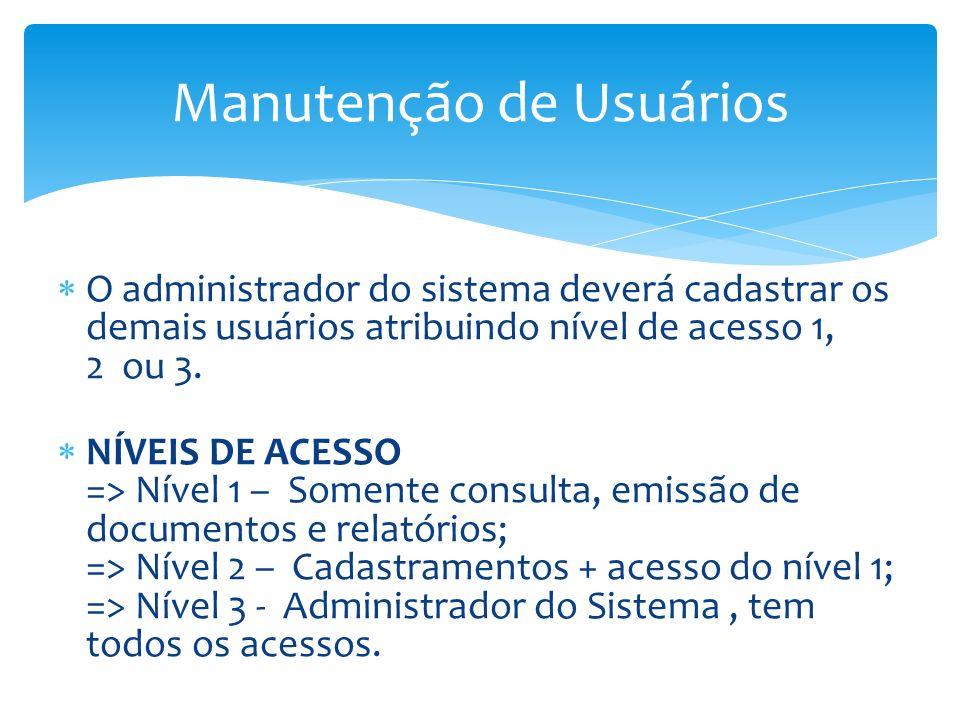 Manutenção de Usuários O administrador do sistema deverá cadastrar os demais usuários atribuindo nível de acesso 1, 2 ou 3. NÍVEIS DE ACESSO => Nível