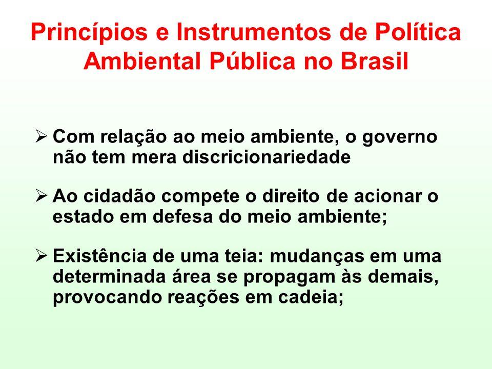 Princípios e Instrumentos de Política Ambiental Pública no Brasil Com relação ao meio ambiente, o governo não tem mera discricionariedade Ao cidadão c