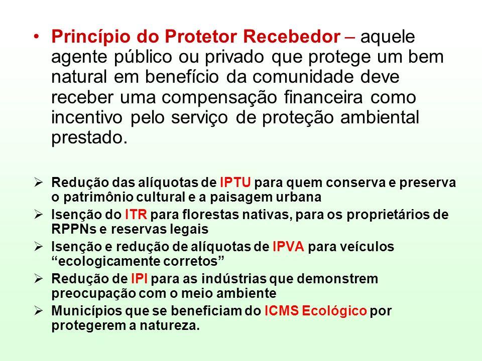 Princípio do Protetor Recebedor – aquele agente público ou privado que protege um bem natural em benefício da comunidade deve receber uma compensação