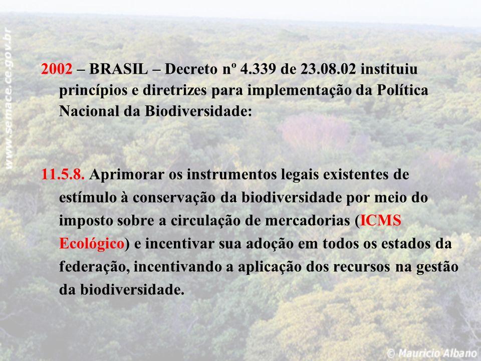 2002 – BRASIL – Decreto nº 4.339 de 23.08.02 instituiu princípios e diretrizes para implementação da Política Nacional da Biodiversidade: 11.5.8. Apri