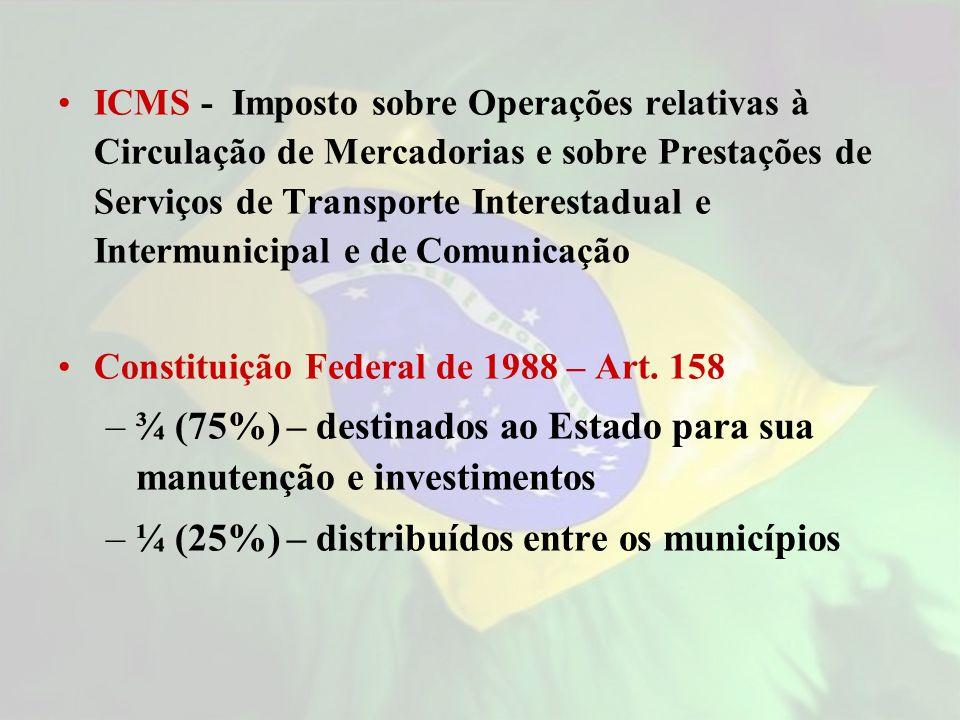 ICMS - Imposto sobre Operações relativas à Circulação de Mercadorias e sobre Prestações de Serviços de Transporte Interestadual e Intermunicipal e de