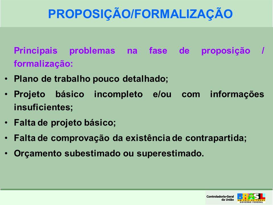 Clique para editar o formato do título de texto Clique para editar o formato do texto em estrutura de tópicos Segundo Nível da Estrutura de Tópicos Terceiro Nível da Estrutura de Tópicos Quarto Nível da Estrutura de Tópicos Quinto Nível da Estrutura de Tópicos Sexto Nível da Estrutura de Tópicos Sétimo Nível da Estrutura de Tópicos Oitavo Nível da Estrutura de Tópicos Nono Nível da Estrutura de Tópicos 15 Principais problemas na fase de proposição / formalização: Plano de trabalho pouco detalhado; Projeto básico incompleto e/ou com informações insuficientes; Falta de projeto básico; Falta de comprovação da existência de contrapartida; Orçamento subestimado ou superestimado.